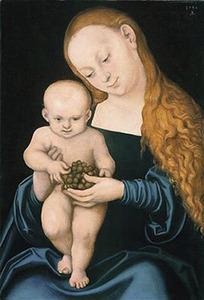 De Maagd Maria presenteert druiven aan het Kind Jezus