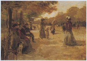 Wandelaars in Bois de Boulogne, Parijs