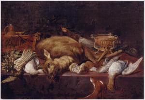 Keukenstilleven met een hert, gevogelte en een hond