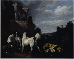 Jachthonden in een landschap bij een ruïne