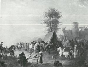 Officieren op een paardenmarkt in een dorp