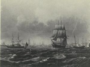 Zeilschepen op de rede van Kopenhagen