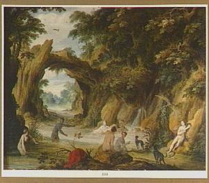 Bosrijk rivierlandschap met badende nimfen