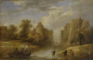 Vissers bij een kasteel