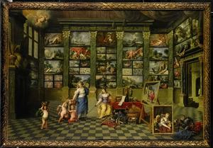 Personificaties van Natura en Pictura in een schilderijenverzameling, de schilderschool van Antwerpen vertegenwoordigend