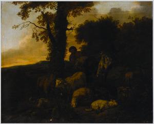 Boomrijk landschap met herder, schapen en een ezel