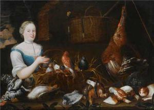 Stilleven met vogels en een jongevrouw die een mand met zangvogels vasthoudt