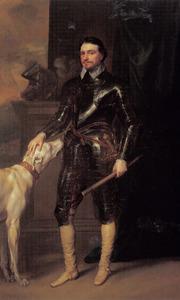 Portret van Thomas Wentworth, 1st Earl of Strafford (1593-1641) met zijn Deense dog