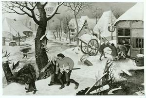 Winters dorpsgezicht voor een herberg