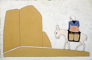Vrouwenfiguur op ezel