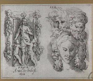 Venus en putti in decoratieve omlijsting; studies van vijf koppen