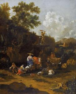 Zuidelijk landschap met herders bij een fontein