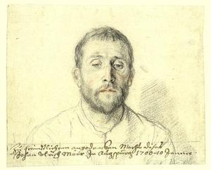 Portrtet van een man, mogelijk de architect en tekenaar Johann Jacob Müller uit Braunschweig