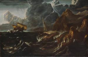 Storm op zee voor een rotsachtige kust