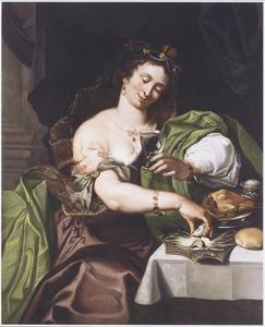 Etende en drinkende vrouw: allegorie op de Smaak, een van de vijf zintuigen