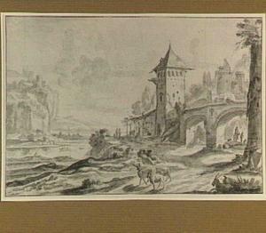 Bergachtig rivierlandschap met fortificaties en een kasteel