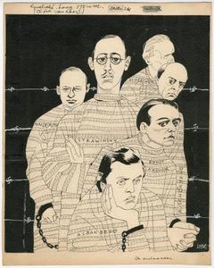De ontaarden. Portretten van Hindemith, Strawinsky, Scherchen, Ernst  Krenek,  A. Schönberg en  Alban Berg in gevangeniskledij