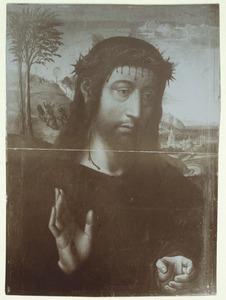 Christus als Man van Smarten; op de achtergrond de val van Christus onder het kruis