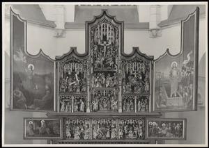 De vlucht naar Egypte (binnenzijde linker predellaluik); De aanbidding van het Christus-kind, de bespotting van Christus (predella); Christus' dispuut met de tempelgeleerden (binnenzijde rechter predellaluik); Christus in Gethsemane (binnenzijde linkerluik); De Annunciatie, de visitatie, de Boom van Jesse, de besnijdenis, de presentatie in de tempel, de kruisdraging, de kruisiging, de kruisafneming (middendeel); De opstanding (binnenzijde rechterluik)