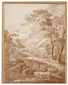 Berglandschap met een vrouw op een ezel