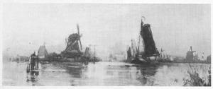 Gezicht op de molens bij Dordrecht