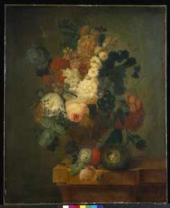 Stilleven van bloemen in een gedecoreerde vaas, met een vogelnestje