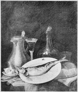 Stilleven met drank en een haring