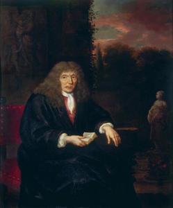 Portret van een man met een pruik voor een parklandschap