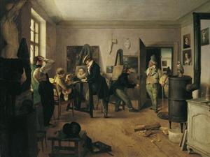 Atelier met schildersleerlingen