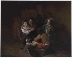 Herbergscène met drie mannen en een vrouw