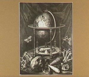 Vanitasstilleven met globe, schedel en schelpen