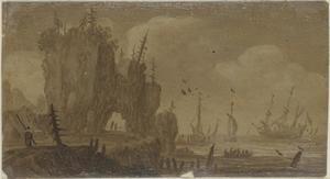 Rotsachtige kust met schepen in het verschiet