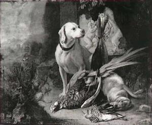 Hond met jachtbuit in een landschap