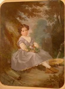 Portret van een meisje in een tuin