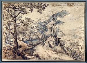 Landschap met een bosweg en rechts een vallei