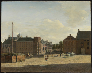 Gezicht op het Stadhouderlijk Kwartier en de Gevangenpoort gezien vanaf de Plaats in Den Haag, links op de voorgrond de executieplaats het 'Groene Zoodje'