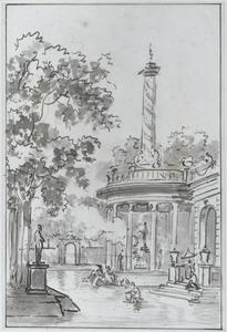 Parklandschap met baders in een vijver bij een tempel