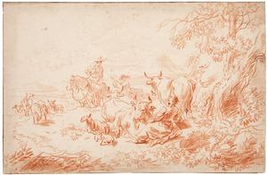 Rustende herders met hun vee