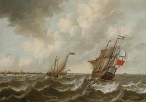 Schepen op een stormachtige zee met kust van Middelbrug en Vlissingen in de achtergrond
