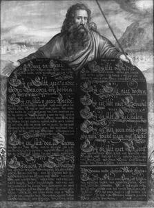 Mozes toont de Tafelen der Wet met de tien geboden