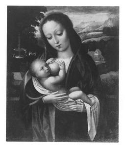Maria met kind, een fontein met engelen en een lam in de achtergrond
