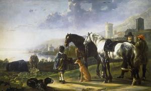 Page met twee paarden