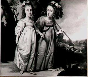 Dubbelportret van twee omkranste kinderen in een landschap, 1643