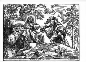 Verzoeking van Christus in de woestijn (Evangelie volgens Matteüs 4: 3-4)