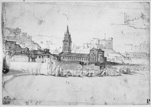 Gezicht op Messina met de kathedraal, rechts boven Palazzata in aanbouw
