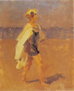 Meisje met badmantel op het strand