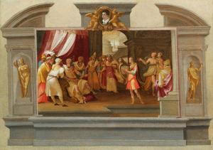 Tromp l'oeil ontwerp voor monument, met David die de harp speelt voor Saul en portret van een jonge man