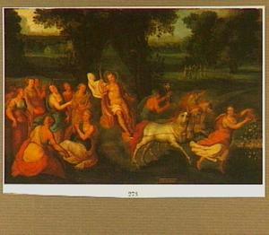 Apollo en de muzen in een landschap: allegorie op de maand Mei