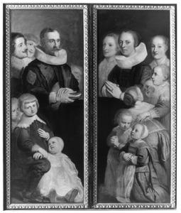 Portretten van Pieter van der Aa (?-1638) met zijn zoons (linkerluik), zijn echtgenotes Catharina Goris (?-1622) en Maria Versteghem (?-?) en dochters (rechterluik)