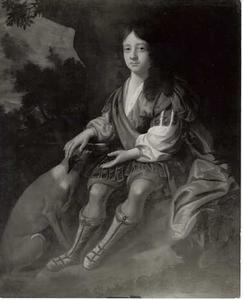 Portret van een jongen met hond in een landschap